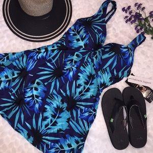 SHORE SHAPES Blue Palm Underwire Swim Dress Suit